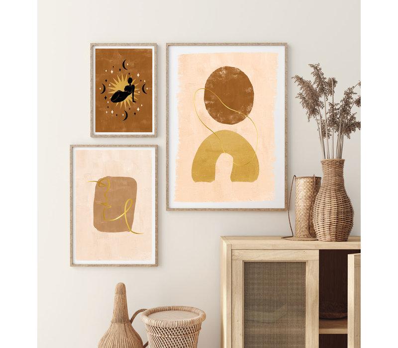 Abstract poster aardse kleuren + goudfolie - Gezicht