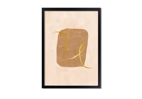 DesignClaud Abstract poster aardse kleuren + goudfolie - Gezicht