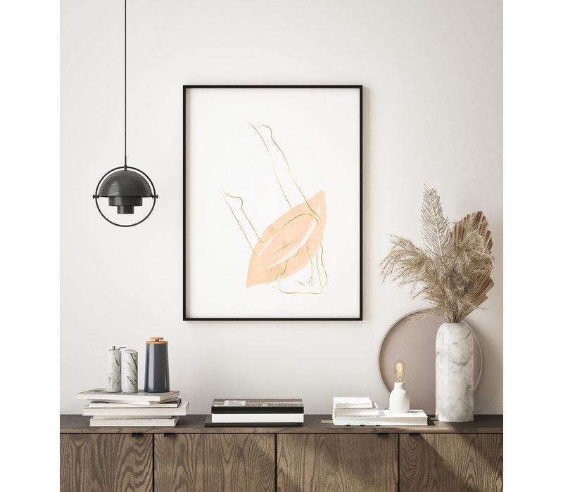 Abstract poster aardse kleuren + goudfolie - Vrouwelijk lichaam