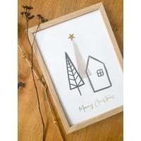 Kerstposter Merry Christmas Kerstster Goudfolie