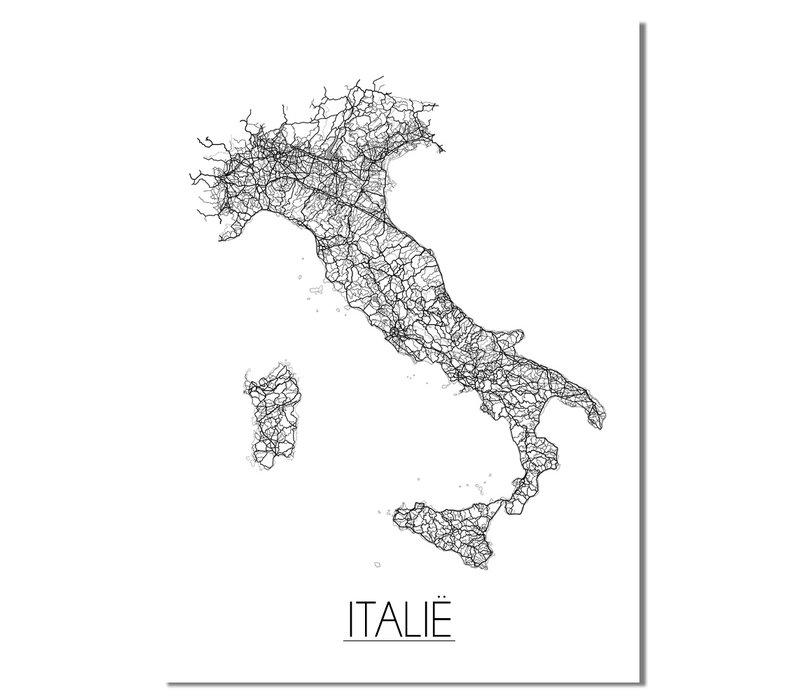 Italië Landkaart Plattegrond poster
