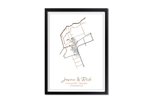 DesignClaud Jubileum Huwelijksposter Goudfolie / Zilverfolie / Koperfolie Stadskaart trouwposter