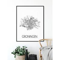 Groningen detail Plattegrond poster