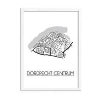 Dordrecht centrum Plattegrond poster