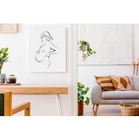 Poster Zwangere vrouw zwart wit - minimalisme