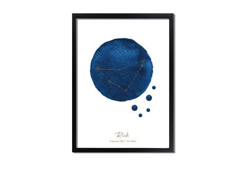 DesignClaud Goudfolie Geboorteposter Sterrenbeeld Donker Blauw