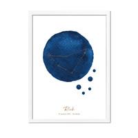 Foliedruk Geboorteposter Sterrenbeeld Donker Blauw
