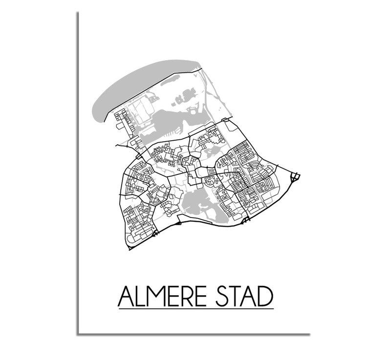 Almere stad Plattegrond poster
