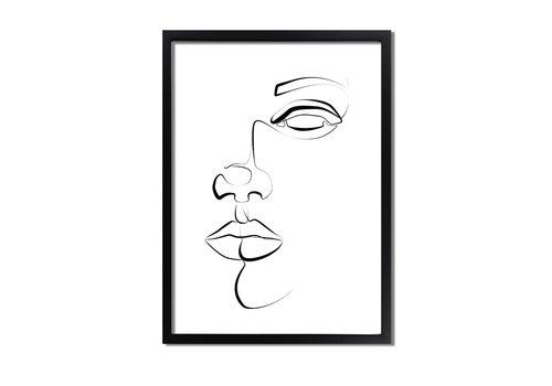DesignClaud Poster gezicht portret zwart wit - minimalisme