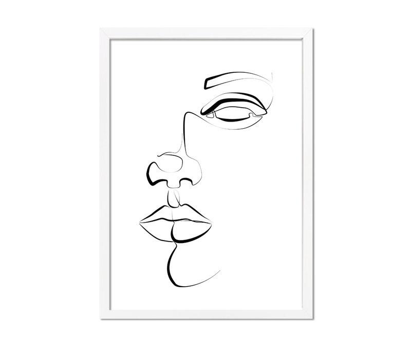 Poster gezicht portret zwart wit - minimalisme