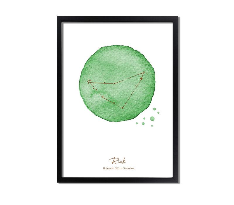 Foliedruk Geboorteposter Sterrenbeeld Groen