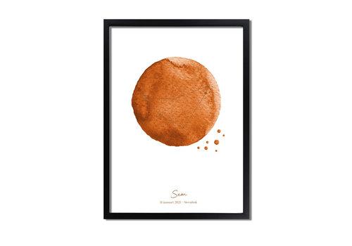 DesignClaud Goudfolie Geboorteposter Sterrenbeeld Terracotta