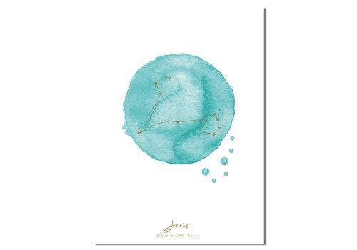 DesignClaud Foliedruk Geboorteposter Sterrenbeeld Blauw