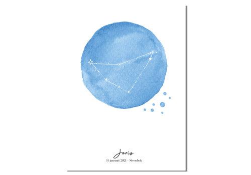 DesignClaud Geboorteposter Sterrenbeeld Helder Blauw