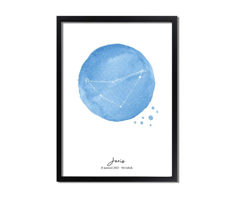 Geboorteposter Sterrenbeeld Helder Blauw