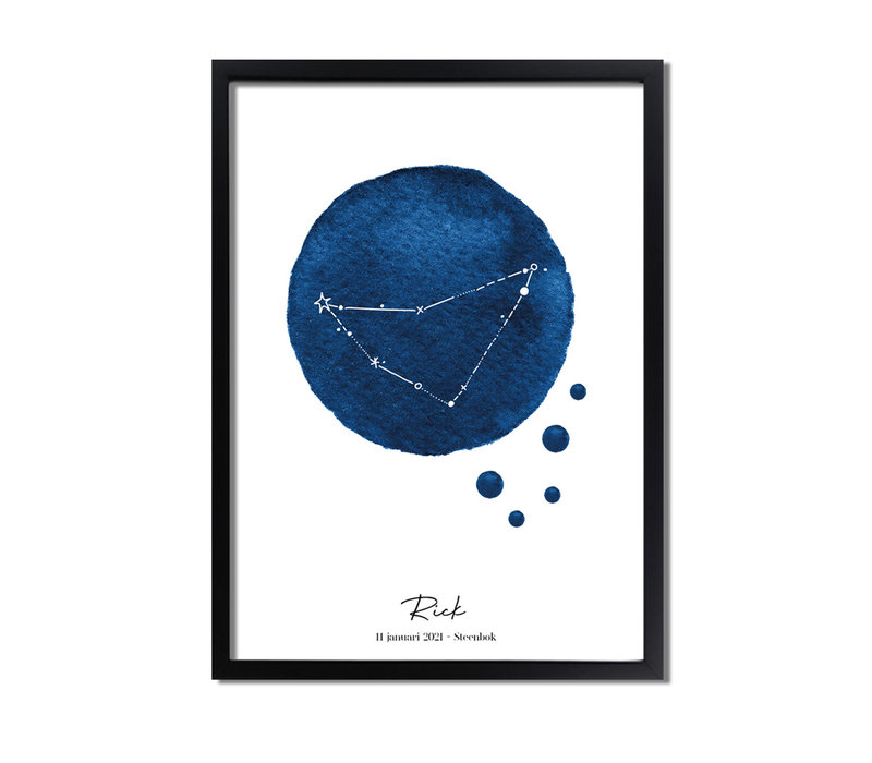 Geboorteposter Sterrenbeeld Donker Blauw