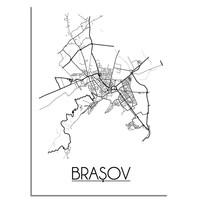 Brașov Roemenië Plattegrond poster