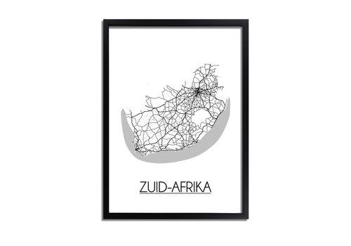 DesignClaud Zuid-Afrika Plattegrond poster