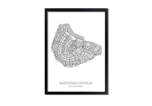 DesignClaud Plattegrond poster naar keuze - Minimalistisch