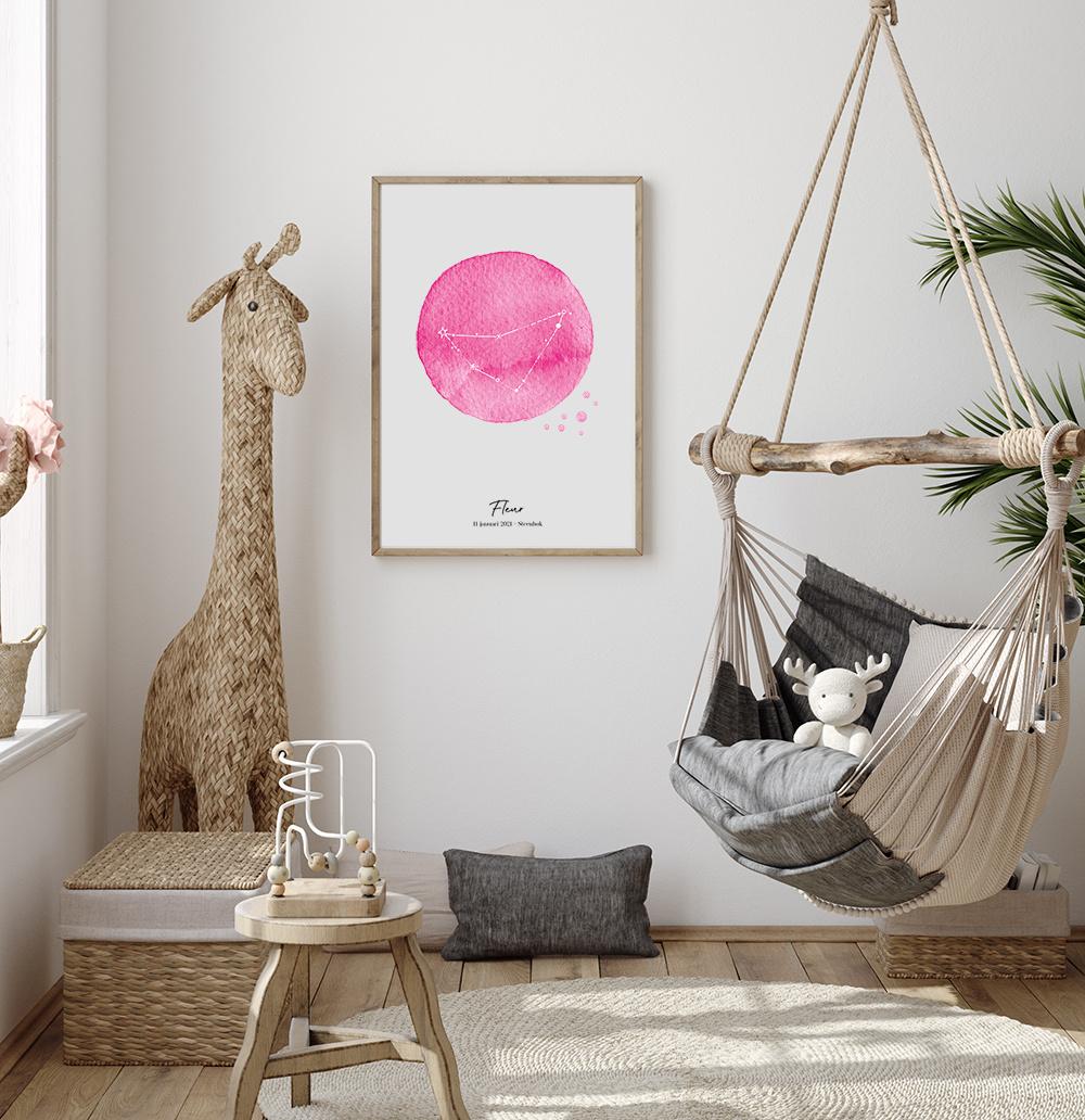 Geboorteposter-Sterrenbeeld-roze