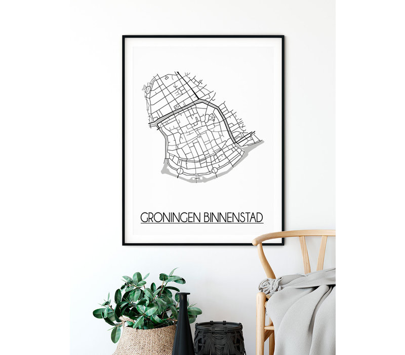 Groningen Binnenstad Plattegrond poster