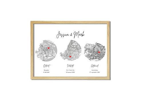 DesignClaud Ontmoet Verloving Bruiloft Poster met stadskaarten