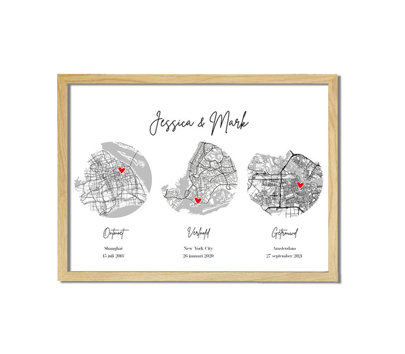 Ontmoet Verloving Bruiloft Poster met stadskaarten