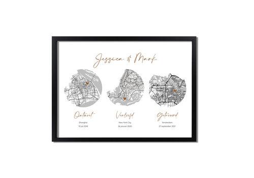 DesignClaud Goudfolie Ontmoet Verloving Bruiloft Poster met stadskaarten