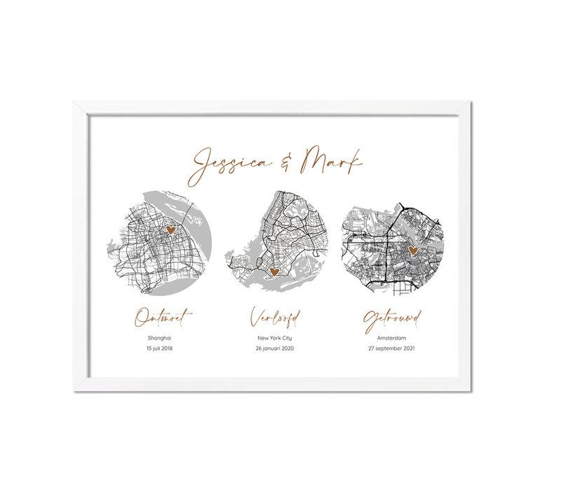 Goudfolie Ontmoet Verloving Bruiloft Poster met stadskaarten