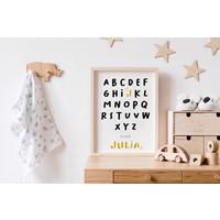 Goudfolie ABC is voor Poster - Geboorteposter te personaliseren