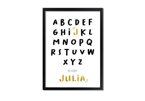 DesignClaud Goudfolie ABC is voor Poster - Geboorteposter te personaliseren