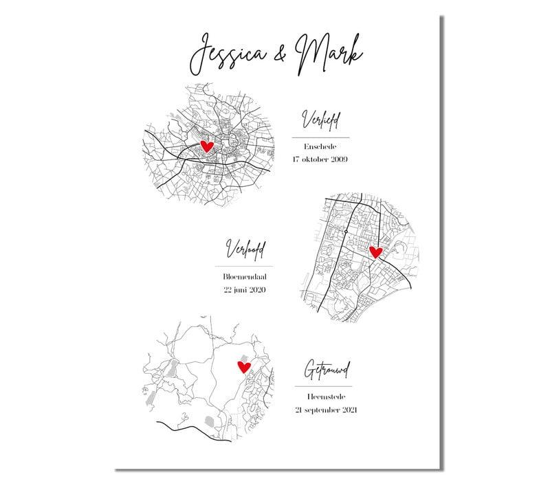 Ontmoet Verloving Bruiloft Poster met stadskaarten - Verticaal