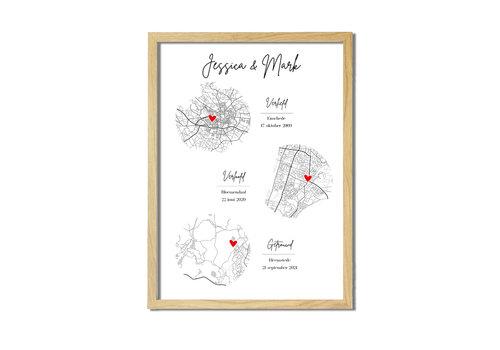 DesignClaud Ontmoet Verloving Bruiloft Poster met stadskaarten - Verticaal