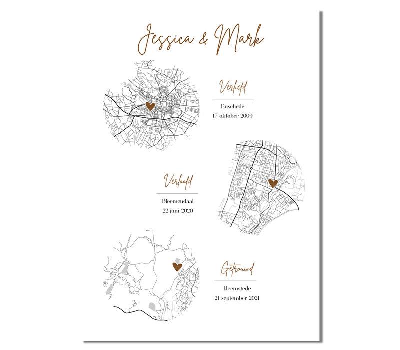 Goudfolie Ontmoet Verloving Bruiloft Poster met stadskaarten - Verticaal