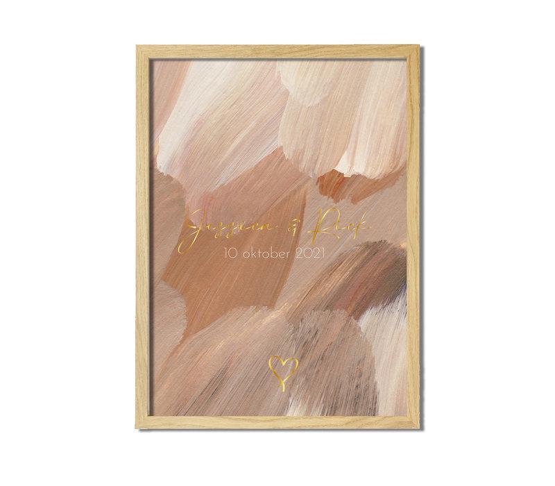 Trouwposter Kunst penseelstreken met goudfolie