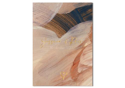 DesignClaud Trouwposter Kunst penseelstreken met goudfolie  - Blauw