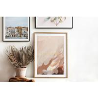 Trouwposter Kunst penseelstreken met goudfolie  - Rood