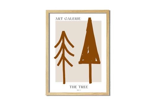 DesignClaud Kerstposter ART GALERIE Bomen - Terracotta