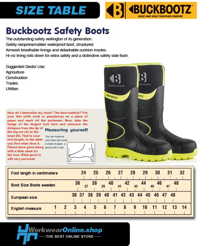 Buckbootz Safety Boots Buckbootz BBZ8000 Black / Yellow