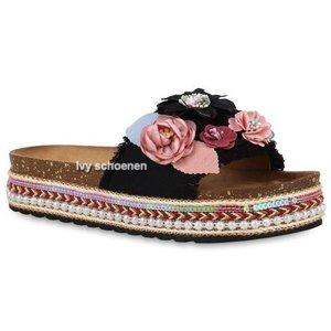 Sandaal FLOWERS DELUXE - Zwart