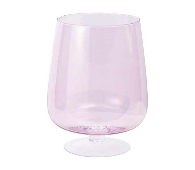 Libra Hand Blown Pink Lustre Glass Hurricane