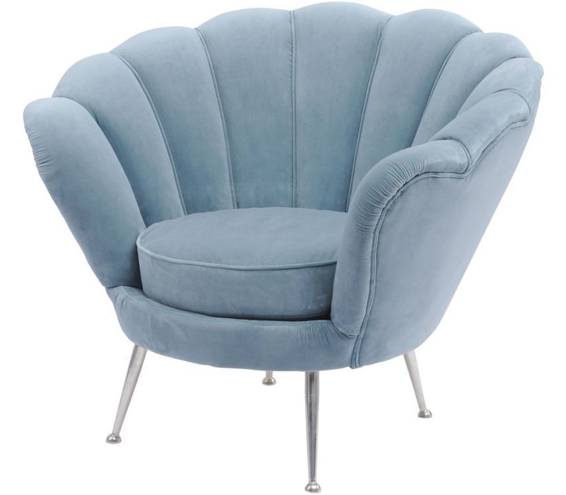 Blue Velvet Shell Chair  - Halcyon Collection
