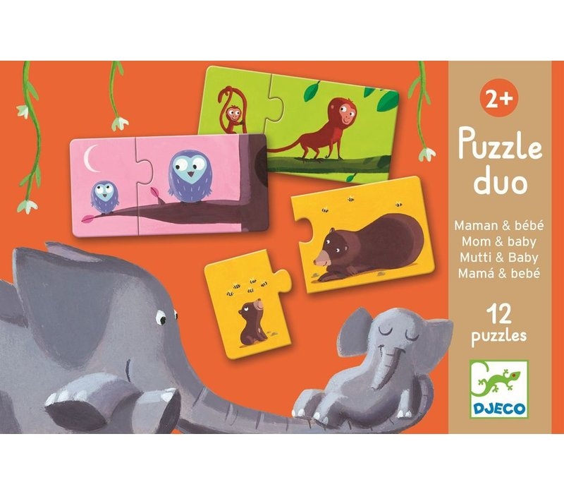 Educational games - Puzzle duo/trio Mom and baby