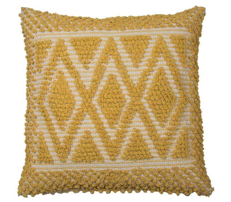 Cushion Pebble Diamonds Mustard 45x45cm
