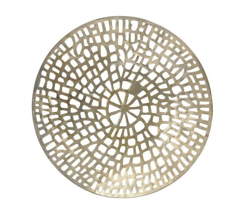 Gold Coral Cage Round Wall Plaque Textured Aluminium
