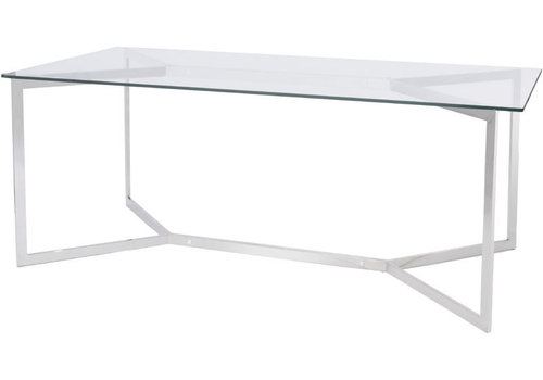 Homestore Linton Stainless Steel And Glass Dining Table