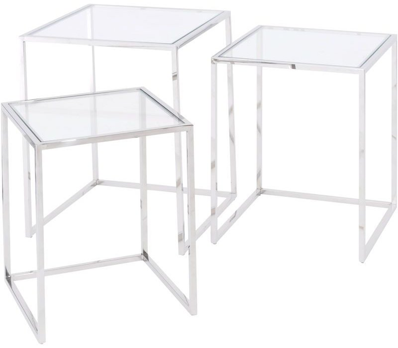 Linton Stainless Steel And Glass Set Of 3 Nesting Tables