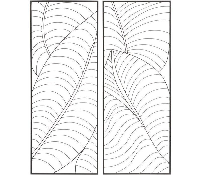 Black Set Of 2 Rectangular Leaf Wall Art