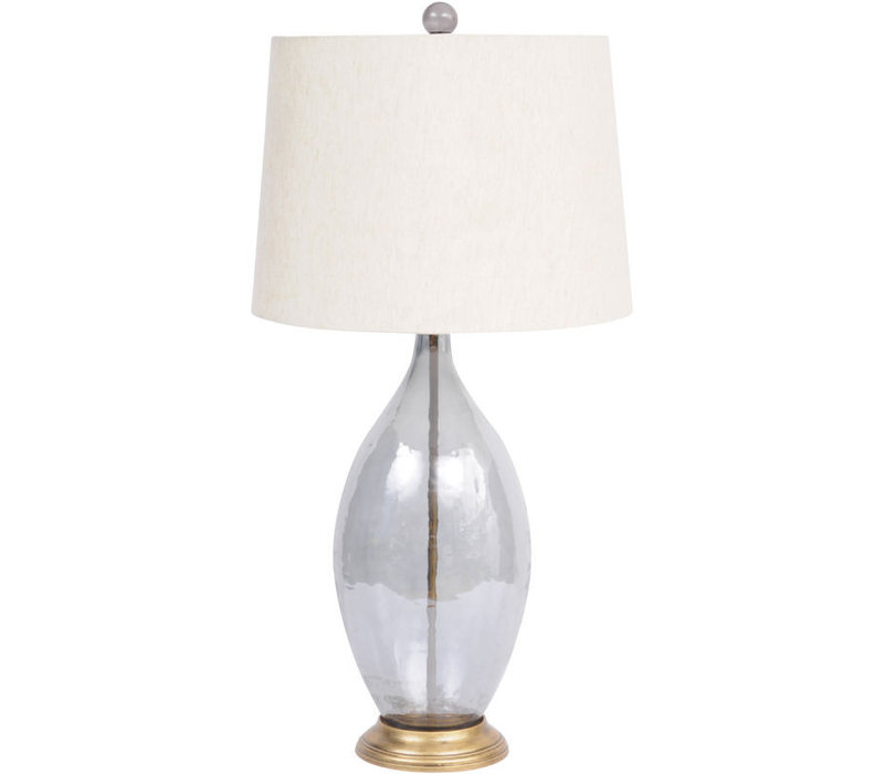 Smoke Grey Lustre Oval Glass Table Lamp With Natural Shade
