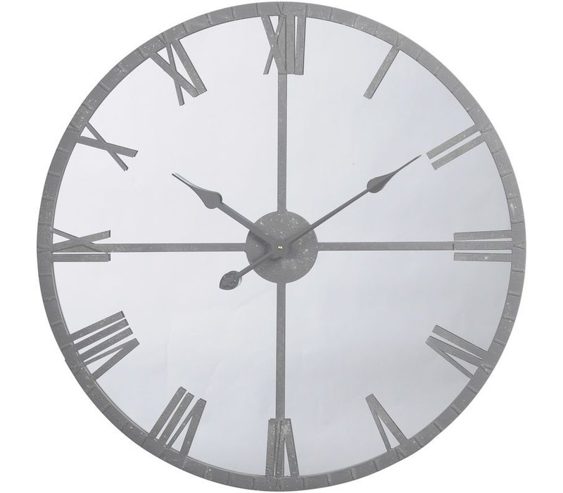 Grey Framed Mirrored Wall Clock